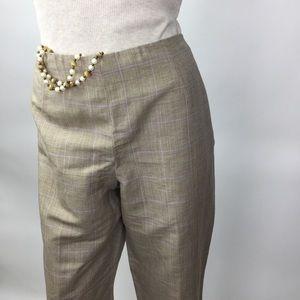 Talbots Plaid Beige Silk/Linen Straight Pants/12